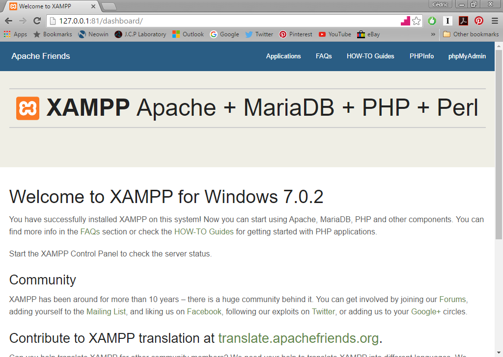 xampp_firstpage